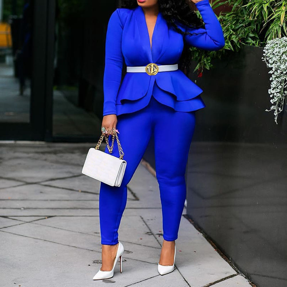 African Women Sets 2 Pieces Elegant Office Lady Workwear Royal Blue Ruffles Tops Pants Business Female Clothing Sets Suits