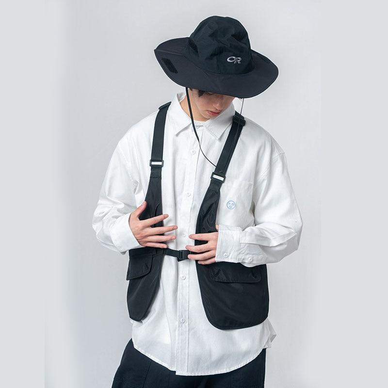 Men Retro Fashion Streetwear Hip Hop Vest Coat Male Female Japan Korea Style Loose Function Waistcoat Sleeveless Jacket