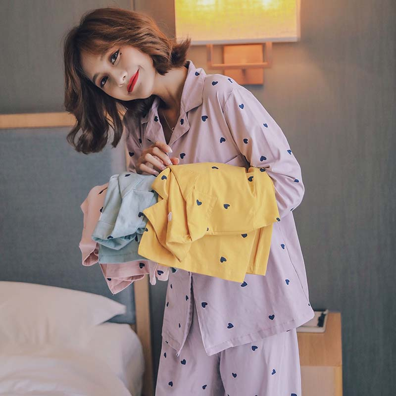 Best Selling Ladies Autumn New Comfort Pajamas Set Cartoon Sweet Heart Printed Simple Style Sleepwear Turn-down Collar Homewear