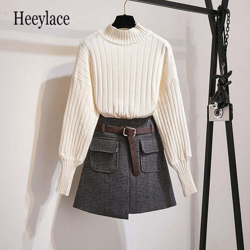 Knitted Puff Sleeve Women Fashion Autumn Winter Slim Sweet Sweaters Tops+Woollen Cloth Plaid High Waist Pockets Mini Skirts Sets
