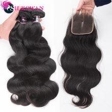 Silkswan – Extensions de cheveux naturels, tissage en lot brésilien Remy, Body Wave, Double trame de cheveux, avec Closure, 4x4