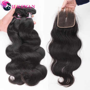 Silkswan Human Hair Extensions Bundles With Closure Body Wave 4*4 top closure Brazilian Remy Hair Weaves Double Hair Weft - Category 🛒 All Category