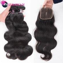 Silkswan extensões de cabelo humano pacotes com fecho corpo ondulado 4*4 parte superior fecho cabelo remy brasileiro tece cabelo duplo weft weft