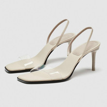 Female Sandals High-Heels Summer Back-Strap Square-Head Woman Shoes Transparent Sexy