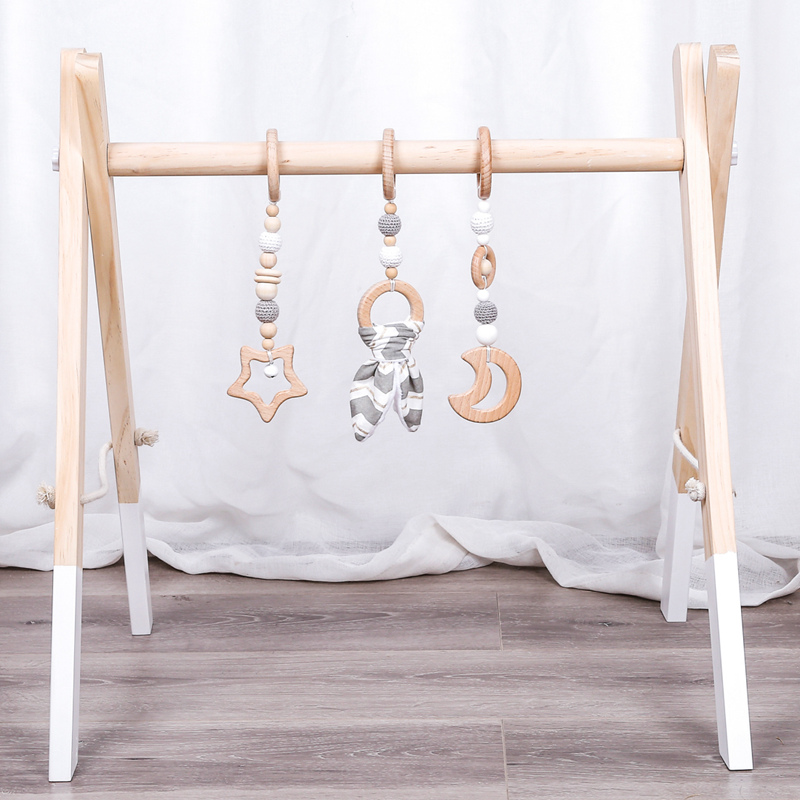 1Set Play Gym Bunny Ear Wood Mobile Rattle Toys Nordic Room Decoration Gift Infant Photography Prop Baby Rattles For Stroller