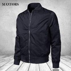 Мужская куртка-бомбер на молнии, однотонная мужская Повседневная ветровка, приталенная куртка-пилот, мужская одежда большого размера 4XL, мо...