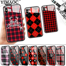 Red and black plaid Glass Phone Case for Apple iPhone 11 Pro XR X XS Max 6 6S 7 8 Plus 5 5S SE webbedepp hot red dead redemption 2 glass phone case for apple iphone xr x xs max 6 6s 7 8 plus 5 5s se