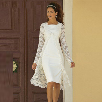 New Elegant White Two Pieces Lace Long Sleeve Mother of the Bride Dresses With Jacket Boat Neck Wedding Guest Gowns Knee Length