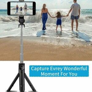 Image 5 - Nieuwe Verbeterde 4 In 1 Draadloze Bluetooth Selfie Stok Universele Uitschuifbare Statief Met Remote Shutter DU55