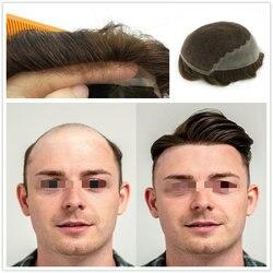 Hstonir Haar Teil Spitze Menschlichen Remy Haar Perücke Dünne Haut Schweizer Spitze In Front Top Männer Toupet Für Verkäufe H045