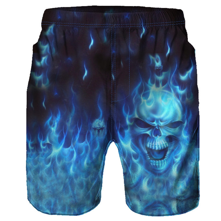 2018 Summer New Style 3D Beach Shorts High-definition Printed Fire Skeleton Casual Cool Cool Loose-Fit Style
