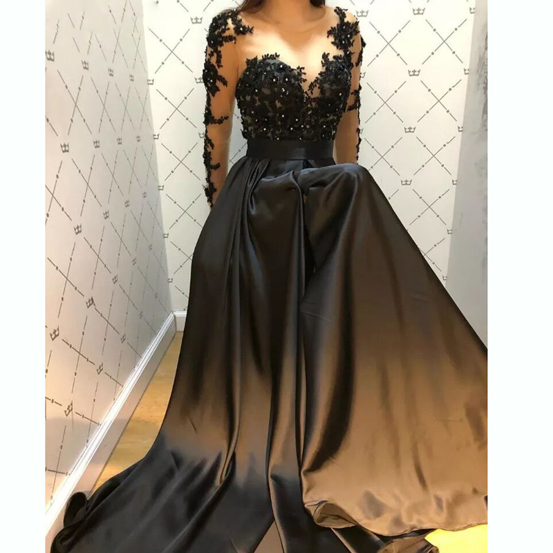 3D-flowers lace black long sleeves Prom Dresses suknie wieczorowe Formal Party Dress Long Evening Dress robes de bal платье