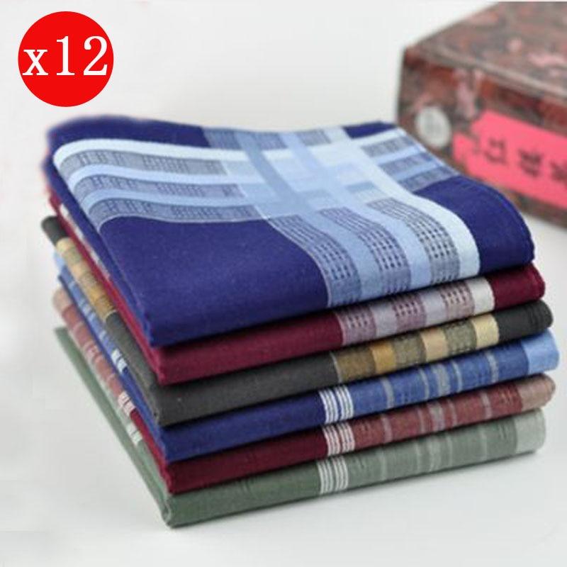 12pcs Fashion Comfortable Vintage Soft Men Plaids Cotton Pocket Handkerchiefs Pocket Square Hankies Set 43*43cm Christmas Gift