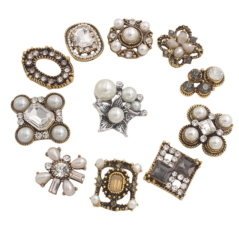 Rhinestone Flatback Vintage Pearl Button Decorative For Craft Embellishments Handmade Decoration Metal Retro Buttons Applique