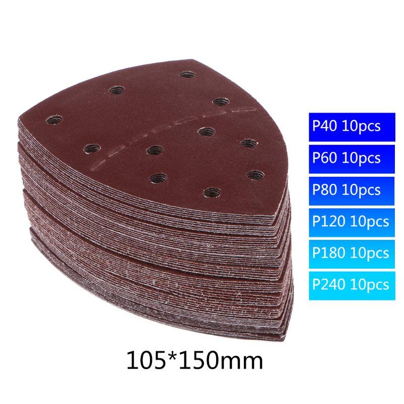 60pcs 11-hole Sandpapers Sanding Sheets Abrasive Discs 40/60/80/120/180/240 Grit
