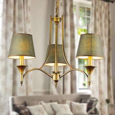 Vintage Home Lighting Chandeliers Indoor Bedroom Light Fixtures Grey Green Fabric Lampshade Copper Iron Chandelier E14 110-240V