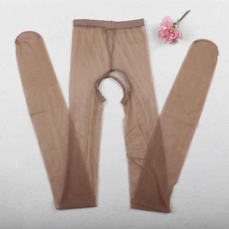 Mulheres Sexy Lingerie Abrir Crotch Crotchless Meia-calça Meias Calças Justas de Fitness Roupa Interior Lingerie Malha Ver Através de Meias