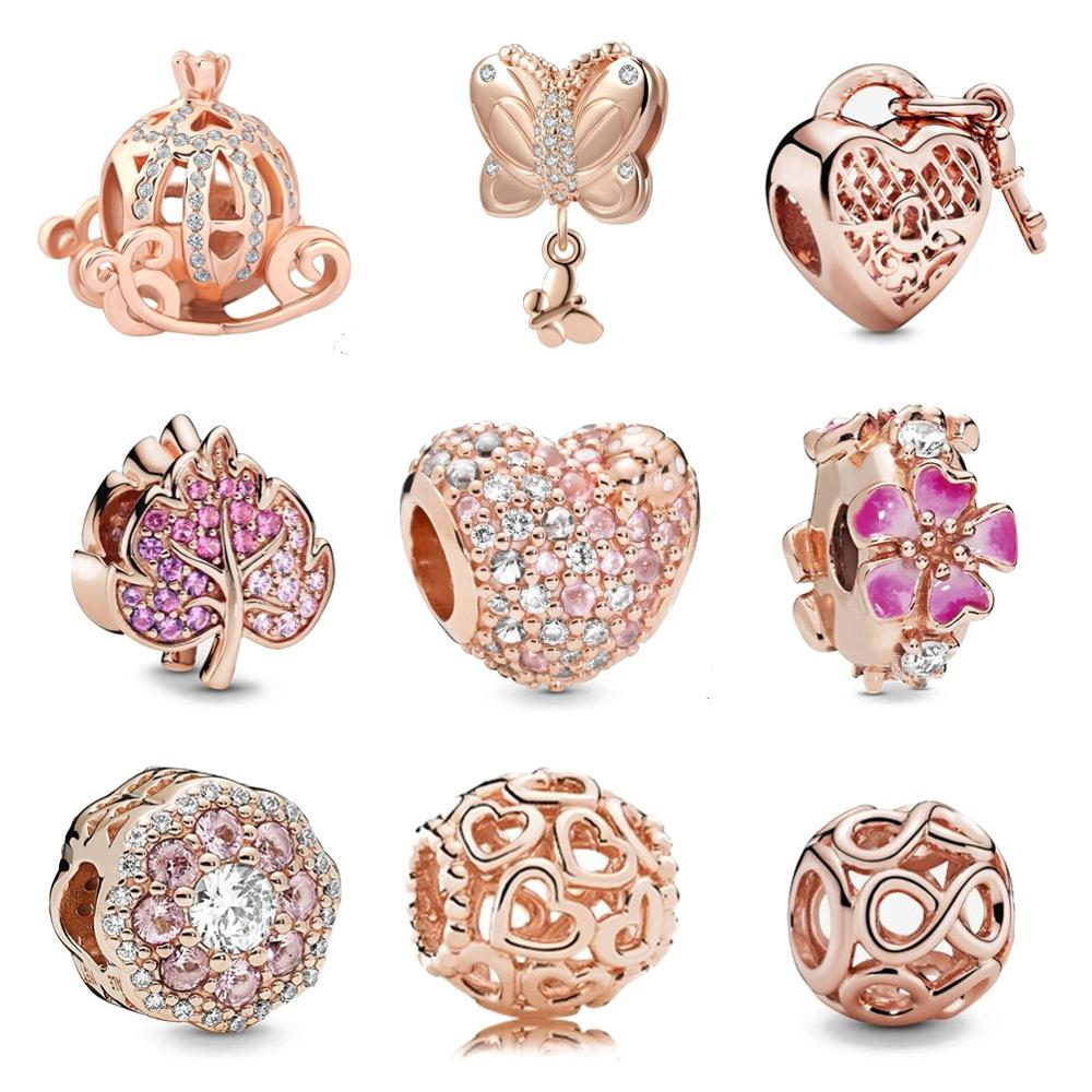 Authentic Original 925 Sterling Silver Charm Bead Pendant Spacer Clip Charms Rose Gold Fit Pandora Bracelets Women DIY Jewelry(China)
