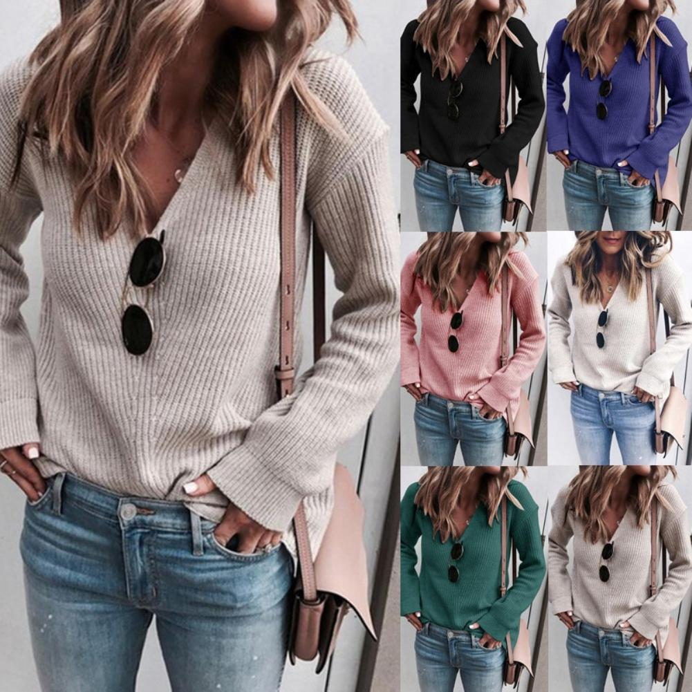 Sweater Women solid color V-neck knit casual loose fashion knit warm comfortable sweater V Neck Knitwear Ribbed  Sweater Blouse
