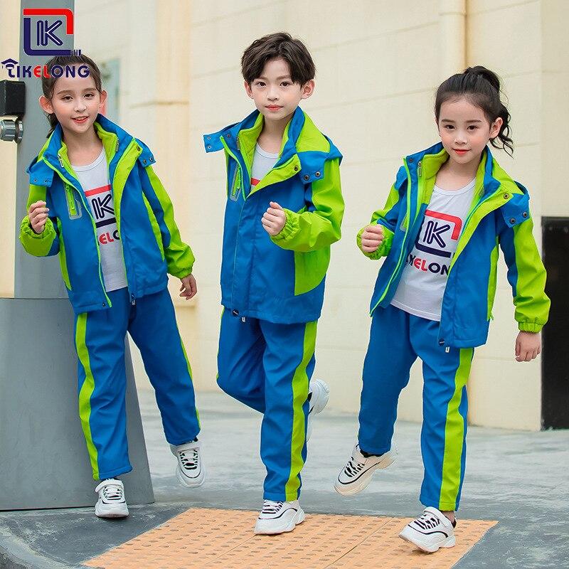 Korea Can Long 2019 New Style Thick Splittable Raincoat Jacket Young STUDENT'S School Uniform Sports Set Kindergarten Suit Busin