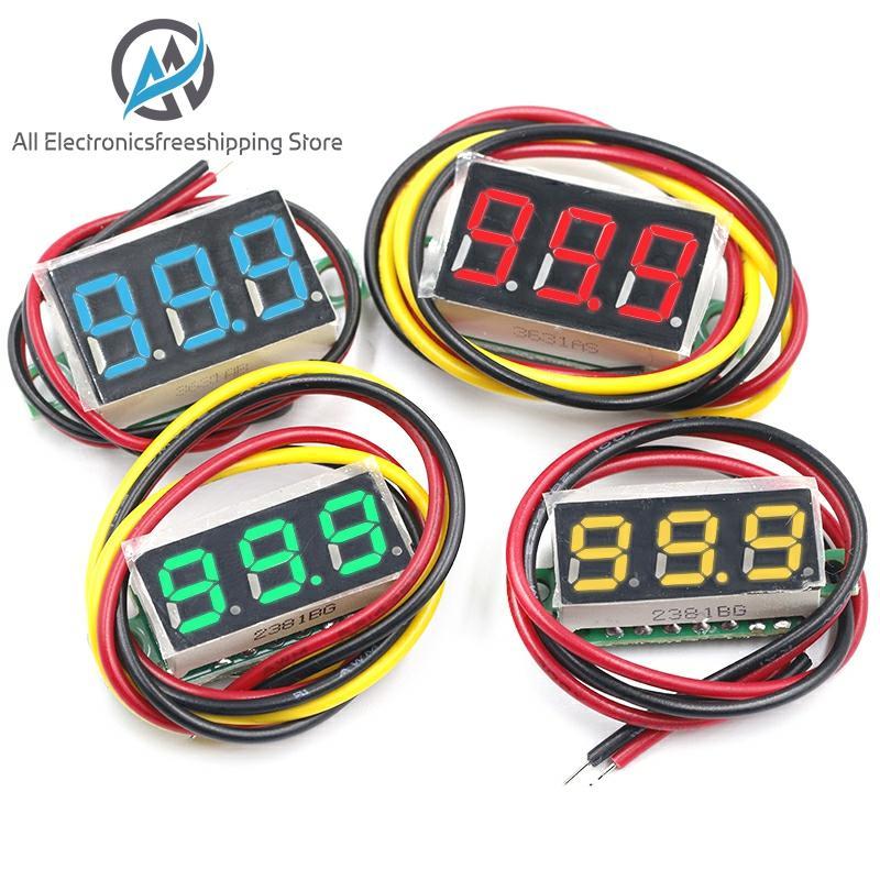 Цифровой вольтметр, 0,36 дюйма, 0,36 дюйма, красный, зеленый, синий, постоянный ток, 0-100 в, три линии, 3-значный измеритель напряжения, дисплей, свет...