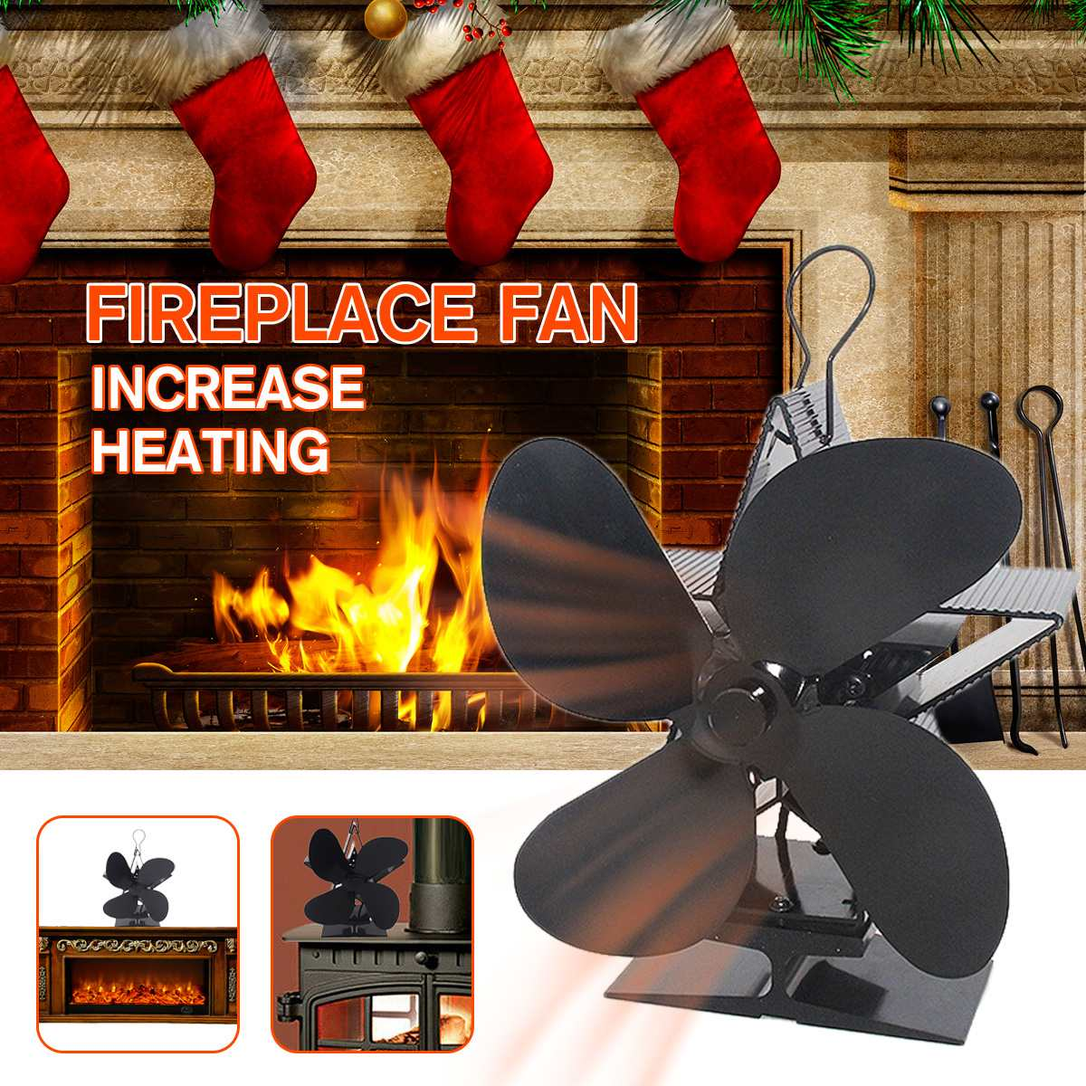 Black Stove Fan 4 Blade Fireplace Fan Heat Powered Log Wood Burner Eco Fan Friendly Quiet Home Efficient Heat Distribution