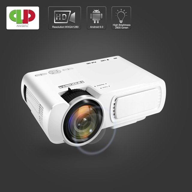Powerful LED Projector T5 2600 Lumens Video Beamer Android 6.0 WIFI Wireless Sync Display For Phone mini Proyector Home Theater