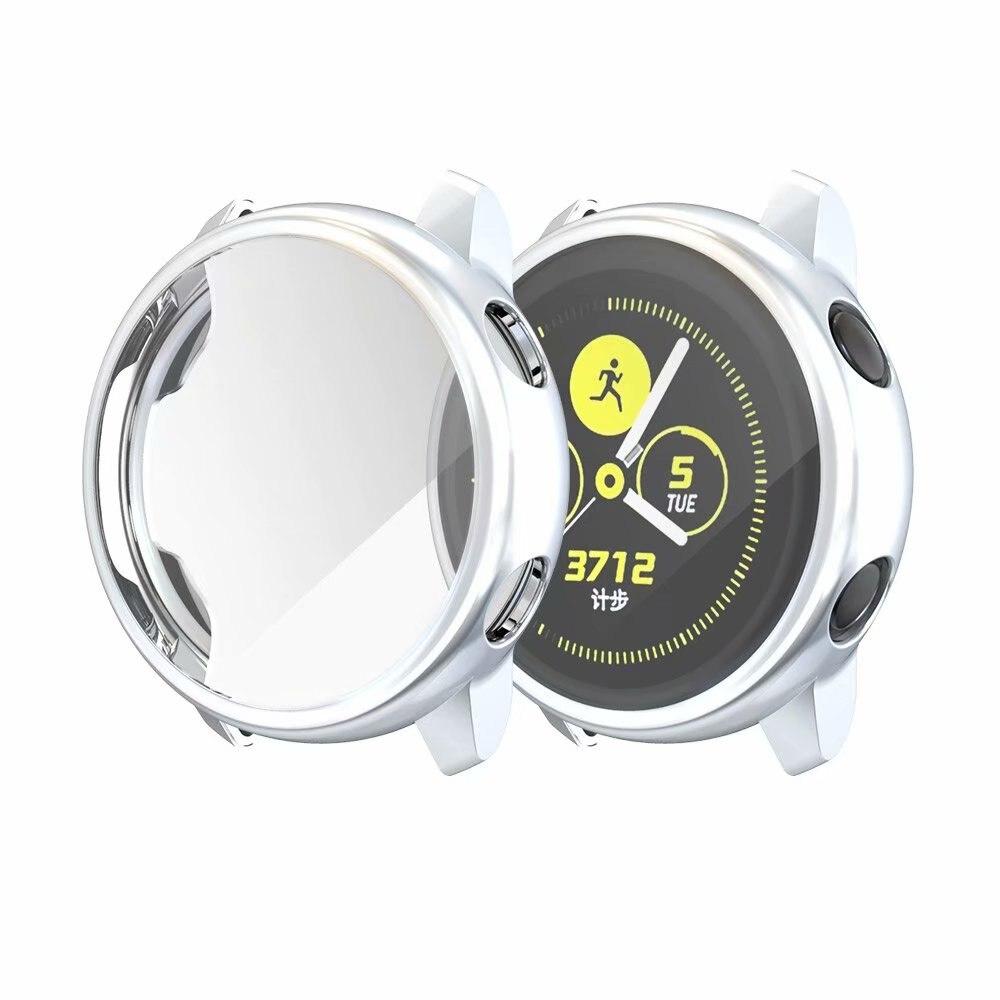 Ультратонкий Мягкий чехол для samsung Galaxy Watch Active, прозрачный защитный чехол из ТПУ для Galaxy Active, 40 мм, полностью силиконовый чехол - Цвет: SILVER