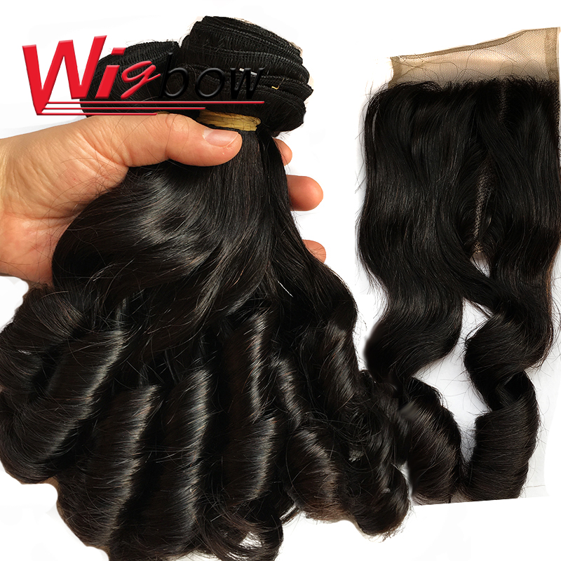 Bouncy Curly Hair Bundles With Closure Double Drawn Hair s  Curly Hair With Middle Part Closure 1
