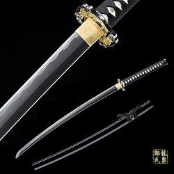 Lame en acier véritable samouraï japonais | Forgé à la main, lame en acier véritable de Katana, complet Tang Iaito Katana pour la formation de pointes tranchantes
