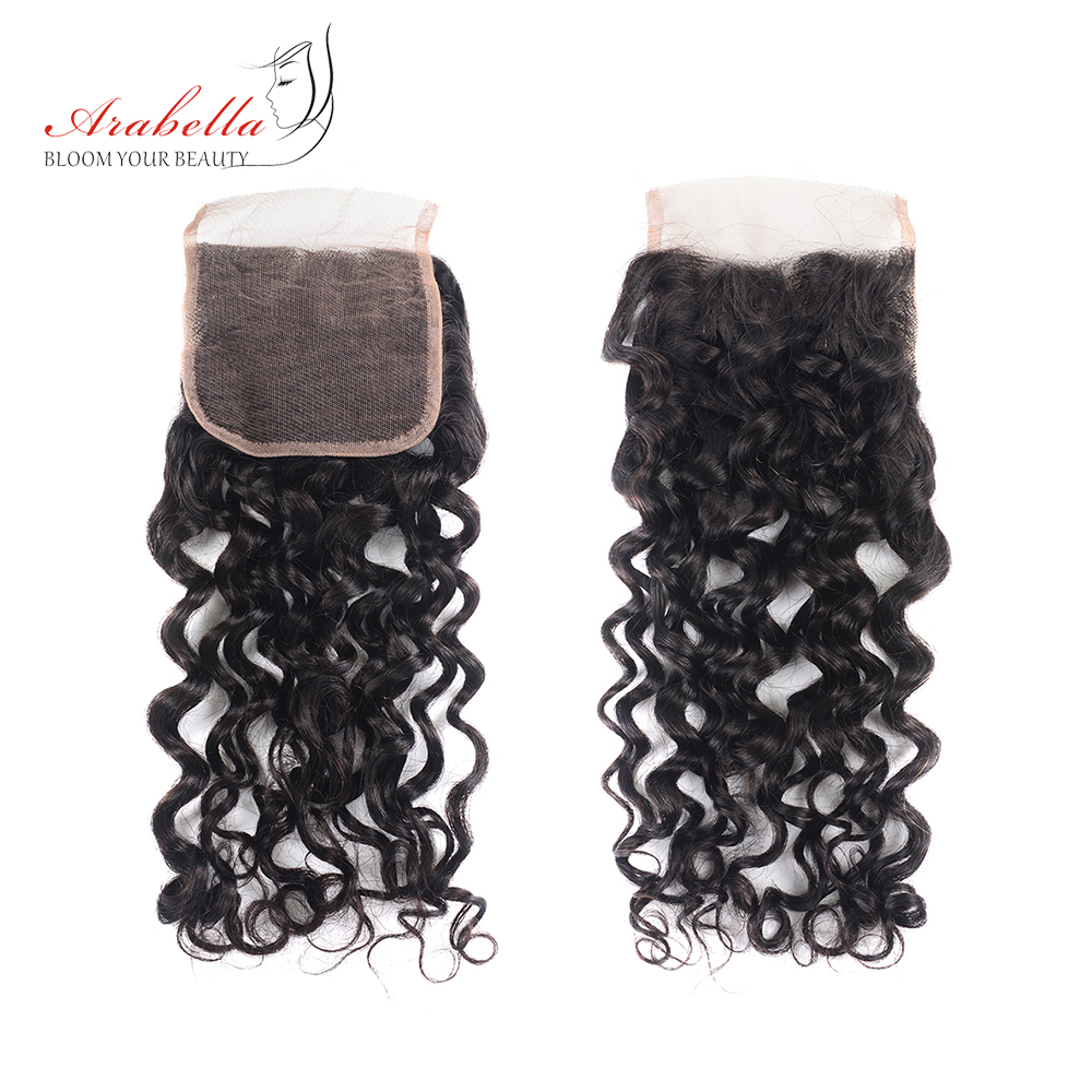 Water Wave 4x4 Transparent Lace Closure Brazilian Remy Hair 100% Human Hair Arabella Pre Plucked Bleached Knots Lace Closure