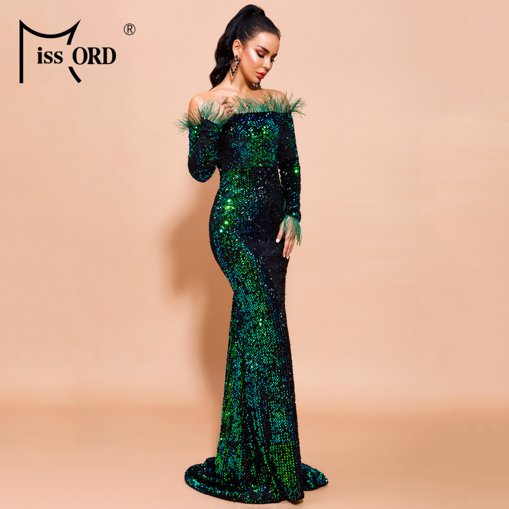 Hb0d001906ea84f1a9e0836f50fd1925eJ - Missord Sexy Off Shoulder Feather Long Sleeve Sequin floor length Evening Party Maxi Reflective Dress Vestdios FT19005