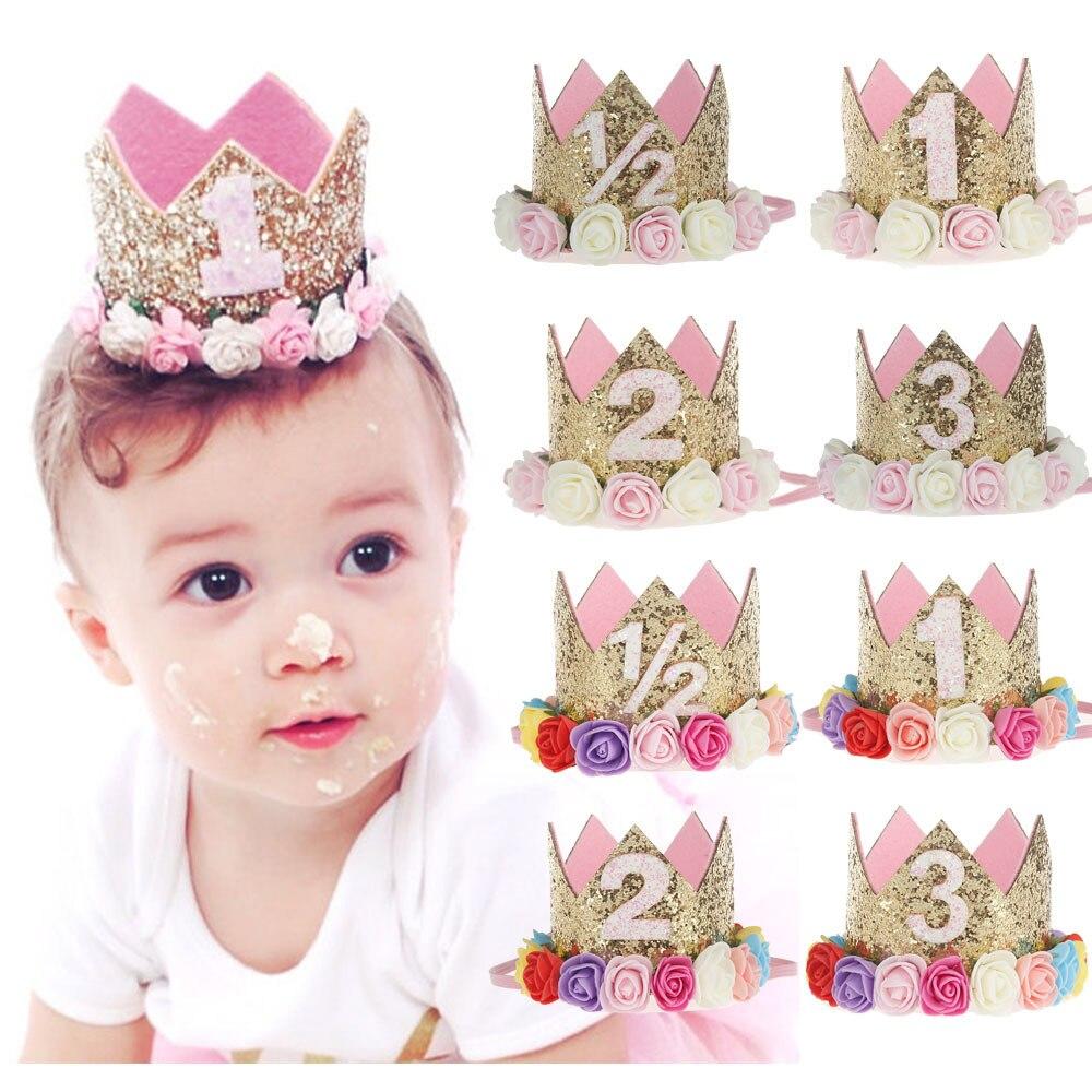 1Pcs Birthday Caps Flower Crown 1st Birthday Hat Newborn Baby Birthday Headband 1 Year Birthday party Decorations photo shoots