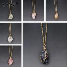 Natural Stone Pendant Necklace Fashion Crystal Chakra Rock Gold Color Chain Quartz Long For Women Gift
