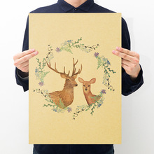 Room decoration Yu Scandinavian style deer kraft paper retro poster wall sticker household items decorative painting