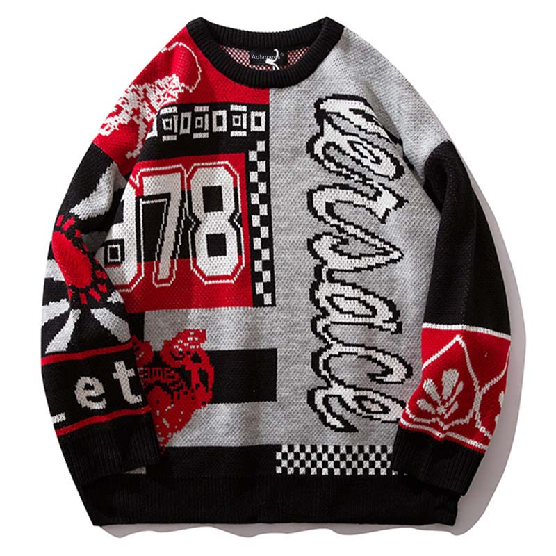 Sweater Men Knitted Harajuku-Style Male Autumn Casual Fashion Letter Color-Block Hip-Hop