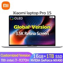 2021 Xiaomi Laptop Pro15 i7-11370H MX450 OLED 3.5K Super Retina Screen 15.6Inch 16GB+512GB/1TB 100%sRGB Win10 Office Notebook PC