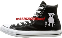 Canvas Shoes Pitbull Dog Silhouette 1 Fashion High Top Lace Ups Canvas Sneakers For Unisex