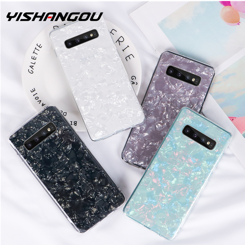 YISHANGOU Mode Schelp Marmer Telefoon Case Voor Samsung Note 10 S10 Plus S9 S8 S7 Rand Note 9 8 s10E Acryl Hard Cover