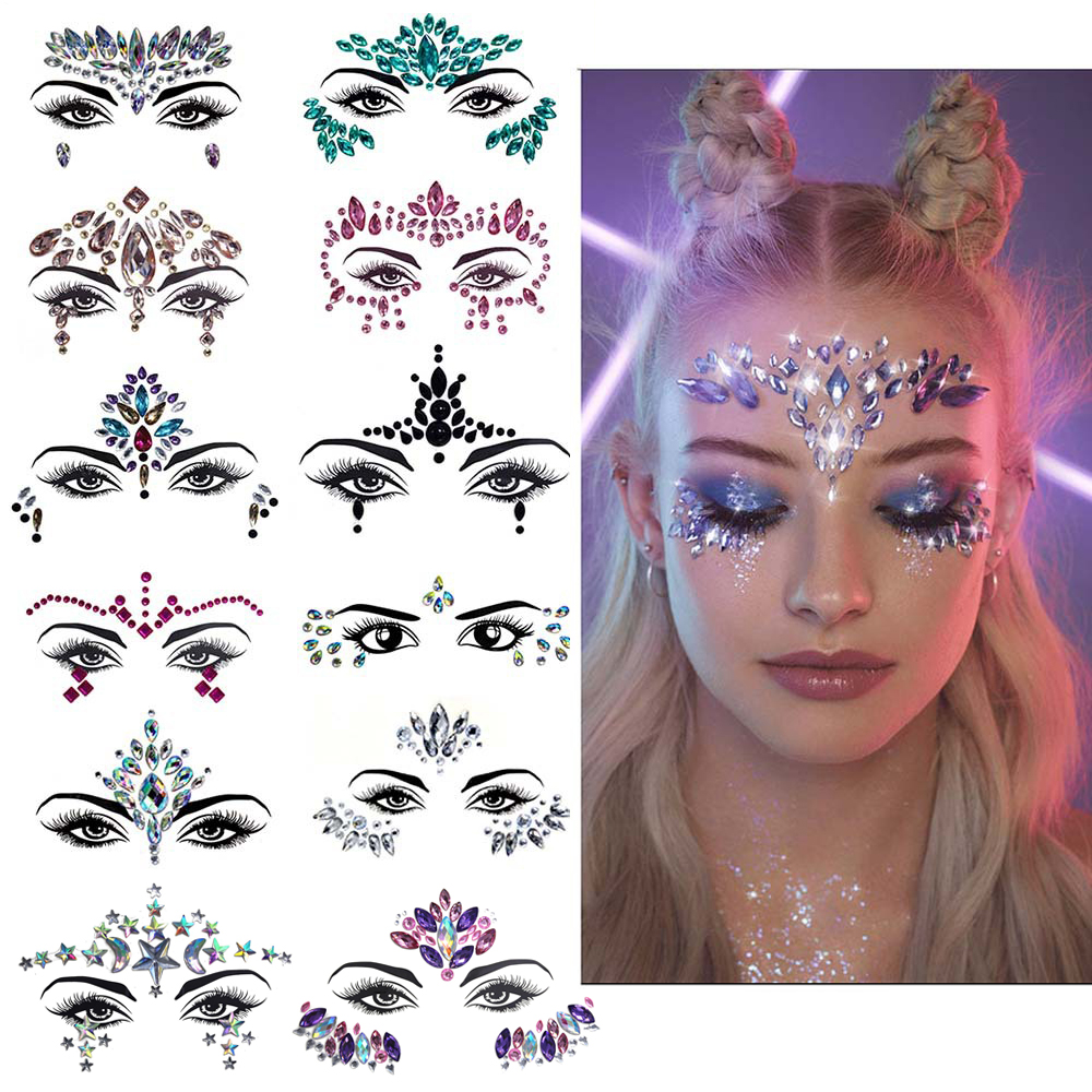 Masquerade Shiny Face Decoration 3D Crystal Sticker Music Festival Trendy Shiny Acrylic Drill Sticker Temporary Tattoo Sticker