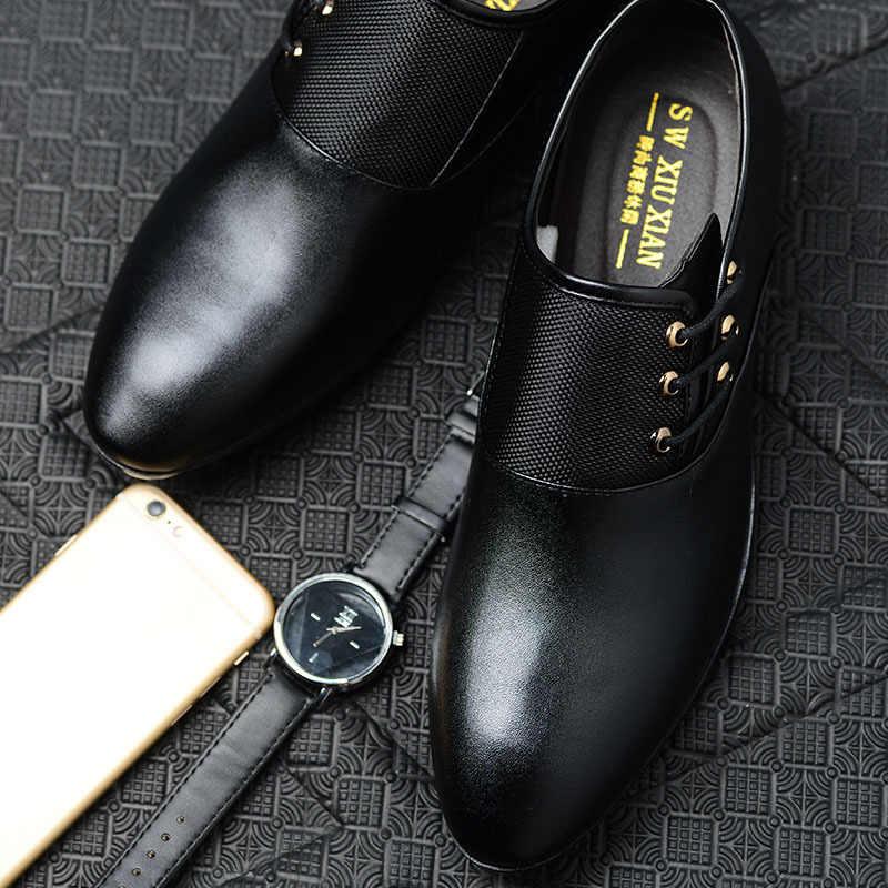 Cổ Điển Người Giày Mũi Tròn Đầm Giày Da Bò Công Sở Lịch Nam Đen Cưới Giày Oxford Trọng Size Lớn 38-48