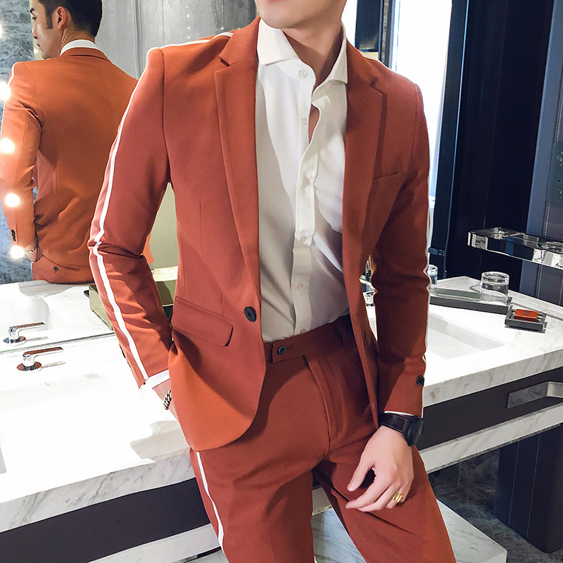 New Korean Shoulder Stripe Men's Suit 2020 Spring Casual Slim Fit Men Suits For Wedding Business Formal Dress Suit Costume Homme