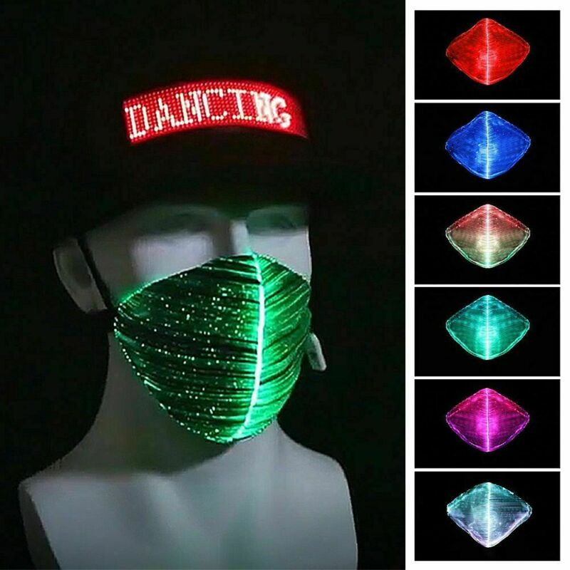 Thefound Fashion Party Mask LED Flashing Mask 7Colors Luminous Light For Halloween Rave Mask Music Bar Party Masks Apparel
