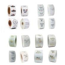 Rouleau d'autocollants de scellage, 500 pièces, blanc, transparent, noir, 25MM, 1 pouce, pour bricolage, joyeux noël