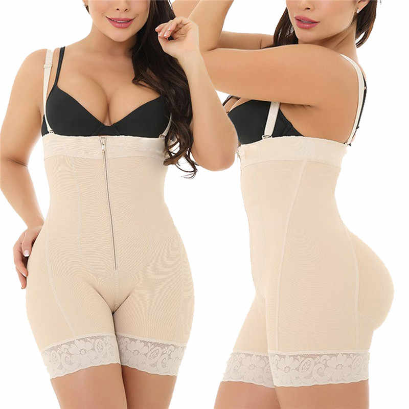 2019 damen Sexy Black Zipper Front Körper Shapers 6XL Plus Größe Bauch-steuerunterbrust Body Unterwäsche Abnehmen Body Shaper