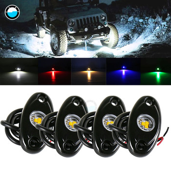 4 Pods Led Rock Lights Kit, For Jeep Atv Suv Offroad Car Truck Boat Underbody Glow Trail Rig Lamp Underglow Led Neon Lights Wate image