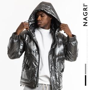 Image 1 - Nagri 2020 Nieuwe Mode Winter Reflecterende Mode Heren Jas Dikke Warme Streetwear Casual Hooded Jassen Jas 19Y131