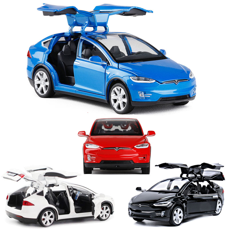 1:32 Tesla Model X высококлассная модель автомобиля из сплава, детские игрушки, металлическая модель автомобиля, Коллекционные детские игрушки, бе...