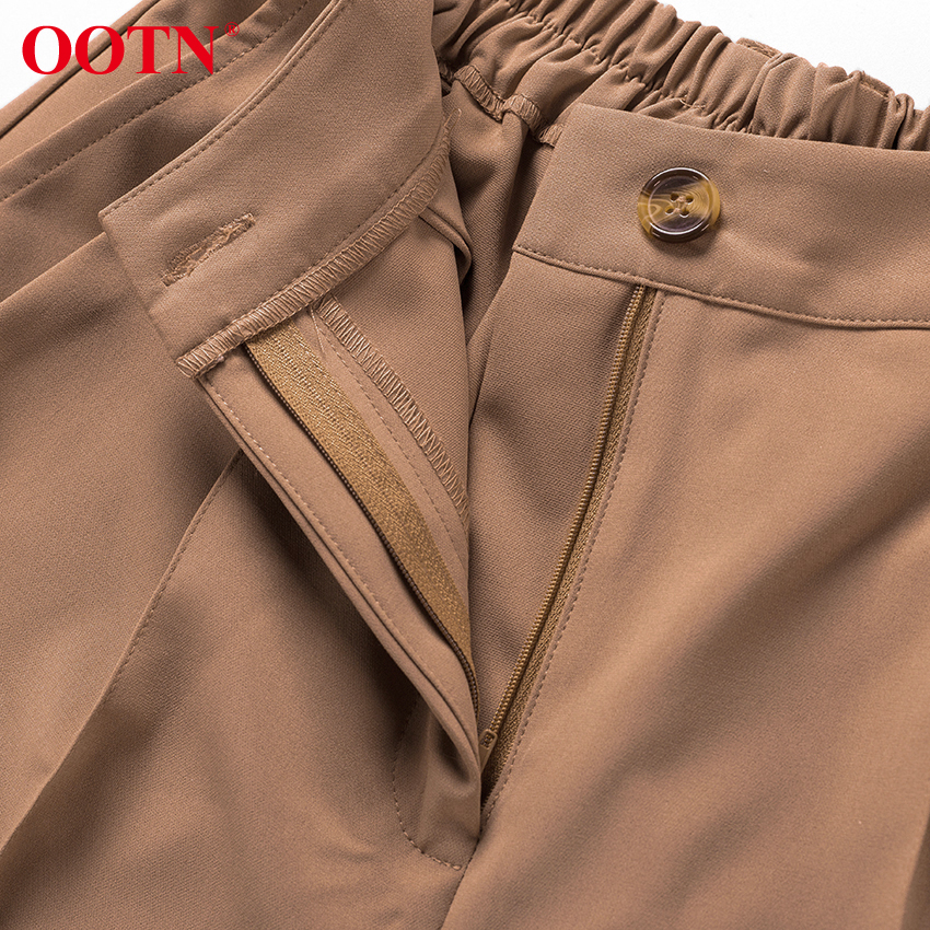 Hb0d0eee1fdf0421098e3bc3c9cadaf5do - OOTN Casual High Waist Khaki Pants Women Summer Spring Brown Ladies Office Trousers Zipper Pocket Solid Female Pencil Pants