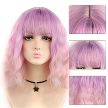 AIYEE Synthetic Hair Wigs with Bangs Short Wavy BOB for Black Women Heat Resistant Christmas Cosplay Wig